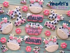 Moo- Adalyn's turning I'm loving this floral trend.everything is so much cuter! Cow Numbers will be available from First Birthday Themes, 2nd Birthday Party Themes, Cowgirl Birthday, Baby Girl 1st Birthday, Birthday Ideas, Farm Animal Birthday, Farm Birthday, Cow Birthday Cake, Birthday Cookies