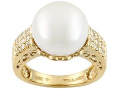 12.5-13mm White Cultured Freshwater Pearl With .12ctw Moissanite 18k Yellow Gold Over Silver Ring