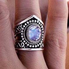 Mondstein Ringe Volle Ewigkeit Sterlingsilber Natürlich Edelstein 925 Größe XS