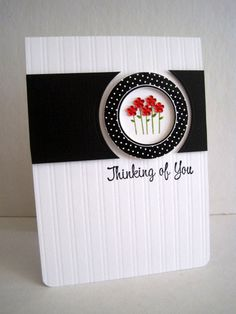 Love the red, white, black color combo on this card. Could use the Perfect Fit Frames for this design.