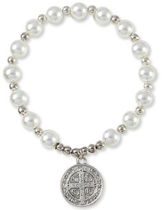 Silver Tone Saint Benedict Medal Glass Simulated Pearl Beads Bracelet  Made in Italy ** Click on the image for additional details.