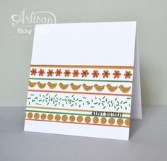 Take one stamp set, three markers and the thicker A4 card stock and make a fun one layer card! - Vicky Hayes