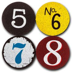 Guests will never forget whose drink is whose with these urban-chic numbered coasters from Flox.  Featuring the numbers 5,6,7,8 this set of 4 coasters is made from 100% recycled rubber and won't slip or scratch your surfaces.
