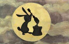 Rabbit Making Mochi On The Moon