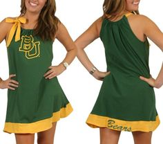 #Baylor tie neck dress -- perfect for those hot early fall football games!
