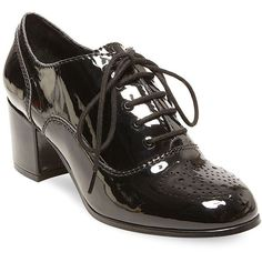 Design Lab Lord & Taylor Suzia Lace-Up Round Toe Oxfords ($79) ❤ liked on Polyvore featuring shoes, oxfords, black, lace up shoes, cotton shoes, oxford shoes, black lace up oxfords and black block heel shoes