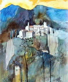 Michael Morgan looks like a spanish village Watercolor Landscape, Abstract Landscape, Watercolor Paintings, Watercolors, Watercolor Canvas, Scenery Paintings, Landscape Paintings, Michael Morgan, Abstract Geometric Art