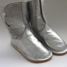 NYC-Made Silver Toddler Winged Boot