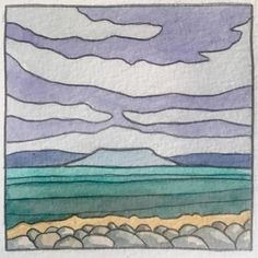 Watercolour 7cmx7cm #watercolor #watercolour #mayo #irishart #landscape Watercolor Illustration, Watercolour, Irish Art, Illustrations, Landscape, Pen And Wash, Watercolor Painting, Watercolour Illustration, Scenery