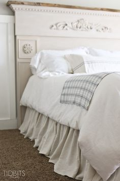Gathered Bed Skirt made from a drop cloth or any fabric of choice. Time saving gathering technique included in tutorial. - by TIDBITS Drop Cloth Projects, Master Bedroom, Bedroom Decor, Shabby Bedroom, Diy Bett, Ruffle Bed Skirts, Decoration, Time Saving, Saving Money