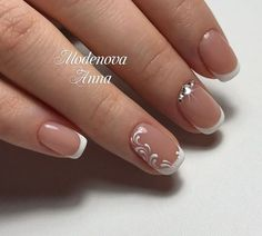 Wedding Nails-A Guide To The Perfect Manicure – NaiLovely French Manicure Nails, Gelish Nails, Oval Nails, French Tip Nails, Manicure And Pedicure, Nail Gel, Cute Nails, Pretty Nails, Bridal Nail Art