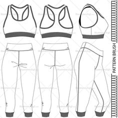 A fashion flat vector template for women's bra and leggings. This template includes front and back sketch of the jacket. It also includes pattern brush. Stitch detail