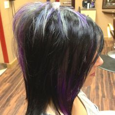 """Wild Violet"" silver and violet accent panels... Looks amazing on Jaclyn:-) By Crissy Pagacz @ Le Rouge Salon & Spa"
