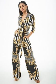 9da709f36da Striped Baroque Surplice Jumpsuit Jumpsuit Elegante
