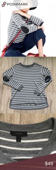 ce4d4bdfb473a J. Crew Stripe Wool Sweater Elbow Patch Classic J. Crew comfort and style!
