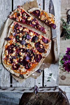 Flammkuchen, herbst, veggie, kürbis, rote beete