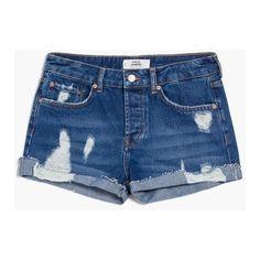 MANGO Medium Denim Shorts ($35) ❤ liked on Polyvore featuring shorts, short jean shorts, destroyed shorts, mango shorts, distressed denim shorts and embellished shorts
