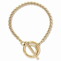 "NEW NIKKI LISSONI YELLOW GOLD TONE POLISHED ROLO CHAIN TOGGLE 7.5"" BRACELET 21g #NikkiLissoni #Chain"