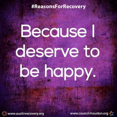 September is National Recovery Month which aims to spread the positive message that behavioral health is essential to overall health, that prevention works, treatment is effective and people CAN and DO recover. To do our part, all month long we plan to showcase the many reasons individuals choose and remain in recovery. We start the month off with perhaps one of the most resonating reasons of all... Because you deserve to be HAPPY! #RecoveryMonth #ReasonsForRecovery