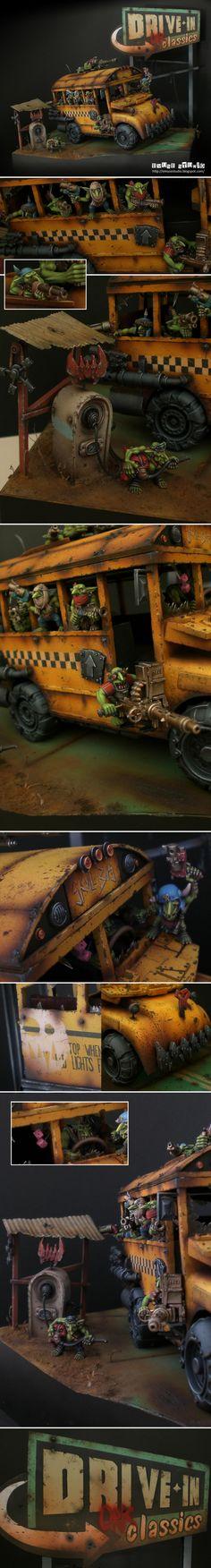 Skull Bus, Ork Battlewagon or Trukk, conversion, diorama, Warhammer 40k.