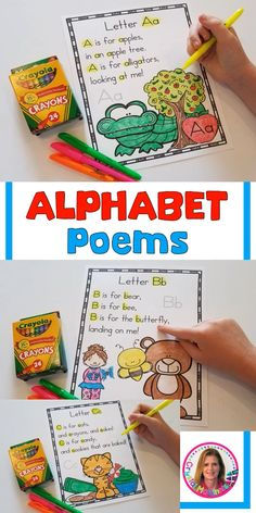 These 26 alphabet poems for shared reading are perfect for introducing each letter of the alphabet. Create a poetry notebook with the poems! Preschool Poems, Kindergarten Poems, Kindergarten Lesson Plans, Preschool Crafts, Preschool Learning Activities, Preschool Lessons, Alphabet Activities, Preschool Alphabet, Alphabet Crafts