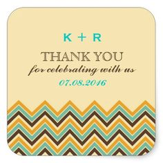 Retro Chevron Pattern Wedding Thank You Stickers. Yellow, teal and brown. Personalize it for bridal shower, birthday party favors, engagement and more. Thank You Stickers, Thank You Tags, Retro Color, Birthday Party Favors, Wedding Thank You, Different Shapes, Custom Stickers, Activities For Kids, Chevron