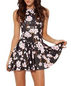 Women Stretchy Casual Digital Printed Blossom Pleated Skater Mini Dress Clubwear in Clothing, Shoes & Accessories, Women's Clothing, Dresses Women's Evening Dresses, Day Dresses, Summer Dresses, Casual Dresses, Women's Casual, Cherry Blossom Dress, Cherry Blossoms, Floral Skater Dress, Ruffle Dress
