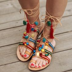 Lace up Sandals / Tie up Sandals /Summer Ethnic Shoes / Decorated Greek Leather Sandals