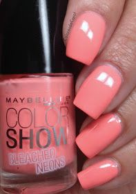 Maybelline Bleached Neons | Beauty | Coral pink nails, Pink nail ...