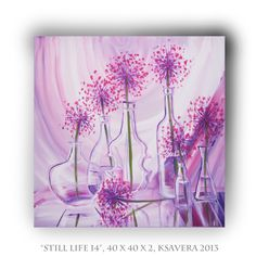 Still Life Expressionist Painting on canvas acrylic floral art garlic KSAVERA 16x16 Original Contemporary Wall Decor for Kitchen. €47.00, via Etsy.
