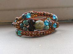 Unique leather wrap bracelet by SunshinesPush on Etsy, $46.00