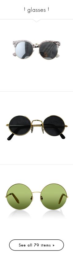 """""""† glasses †"""" by ulzz-nara ❤ liked on Polyvore featuring accessories, eyewear, sunglasses, glasses, sunglass, stone sunglasses, stoner glasses, round frame glasses, round frame sunglasses and print sunglasses"""
