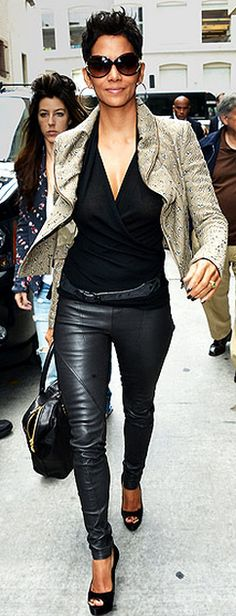 Halle Berry: Jacket - Roland Mouret Shoes - Brian Atwood Jewelry - Sethi Couture similar style shoes by the same designer B Brian Atwood Bambola Peep Toe Pump in Black