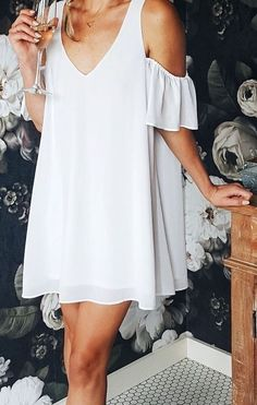 #summer #outfits / white cutout dress