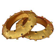 Century Super pair of Turkish bangle bracelets- 24 k gold over sterling silver with gemstones. 24k Gold Jewelry, Gold Jewelry Simple, Bangle Bracelets, Bangles, Antique Bracelets, Diamond Bangle, 18k Gold, Jewels, Gemstones