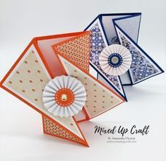 """Hello everyone, today I have these stunning Twisted Gate Fold Cards to share with you. Using products from this month's """"Taste of Morocco"""" Hobbybase Club kit, I think these cards …How striking are these Twisted Gate Fold cards. A very easy ca Card Making Tutorials, Card Making Techniques, Fancy Fold Cards, Folded Cards, Interactive Cards, Shaped Cards, Card Patterns, Cool Cards, Creative Cards"""