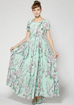 Green Floral Short Sleeve Wrap Dacron Maxi Dress