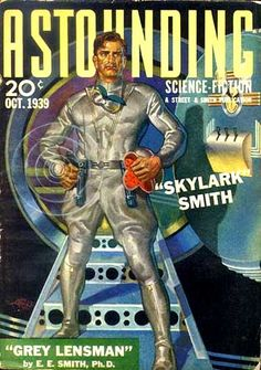 Perfect representation of a male pulp sci fi hero Strong, handsome, well combed hair and wearing a jumpsuit