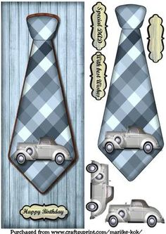 Large DL male card Vintage Car Tie on Craftsuprint designed by Marijke Kok - Great male card with vintage tie
