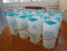 mid century snowflake glasses set