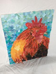 Fine art - Magazine collage - Copper Maran chicken - Week 4 of the 52 week challenge.
