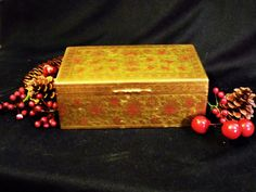 Vintage Benares BRASS BOX  incised enameled wood lined. Made in India