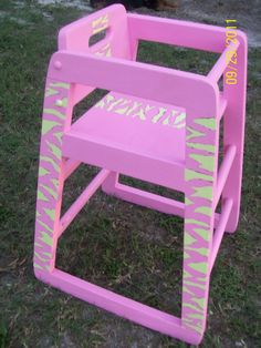 Pink And Lime Green Zebra Print High Chair