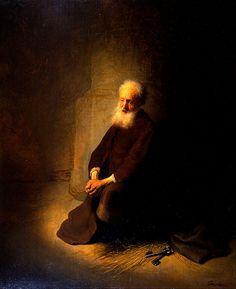 St. Peter in Prison. San Pedro en Prisión. Rembrandt. 1631. Oil on panel. 59 X 47.8 cm. Israel Museum. Jerusalem.