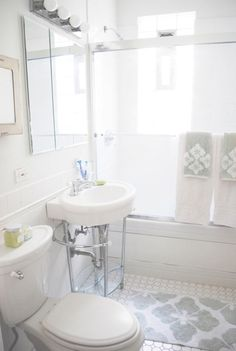 Live Creating Yourself - bathrooms - vintage, hex, tiles, floor, single, washstand, West elm, gray, towels, bath mat, west em bath mat,  Alaina