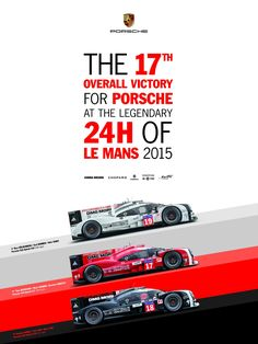 Porsche have maintained their tradition of releasing a poster to celebrate their Le Mans wins. Here's their new 2015 poster.