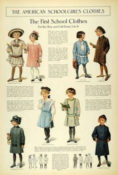 1911 Article Edwardian Fashion Children School Clothes Girls Dresses Accessories