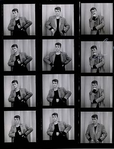 "DAVID BOWIE Photograph Contact Sheet (1984 UK 11"" x 8½"" black & white photograph contact sheet featuring David, wearing a smart jacket and black jumper, in 12 different poses taken by Greg Gorman"