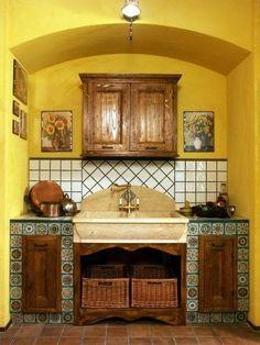 Cucina muratura con piastrelle azzurro #provenzale | kuchnia ...