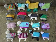 Crochet and knitted sheep created for Yarndale 2016 to raise money and awareness for Martin House Children's Hospice. http://yarndale.co.uk/little-woolly-sheep/